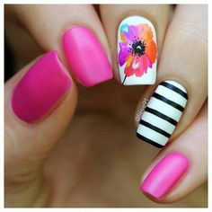 Nail designs Pin for Later: Get Your Nails Beach Ready With These 24 Vacation-Inspired Manicures Ros Cute Nail Art, Cute Nails, Pretty Nails, Fancy Nails, Diy Nails, Glitter Nails, Nail Designs Spring, Nail Art Designs, Nails Design