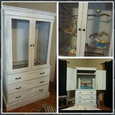 Old T.V. armoire turned bird parakeet cage Upcycle
