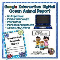 Interactive Digital! Ocean Animal Report for Google or Microsoft OneDrive
