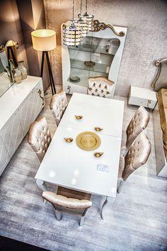 http://www.berkemobilya.com.tr/lady-avangarde-yemek-odasi-takimi Ekru Renk Açılır Yemek Masalı Salon Takmı
