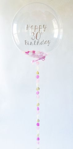 FREE SHIPPING Custom Clear Confetti Happy 30th Birthday 3D Circle Balloon pink gold peach