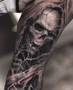 Tattoo artist Darwin Enriquez is part of Pine Tree tattoos Birds - Tattoo artist Darwin Enriquez, black&grey and color realistic tattoo USA Evil Skull Tattoo, Skull Hand Tattoo, Evil Tattoos, Skull Sleeve Tattoos, Demon Tattoo, Skull Tattoo Design, Badass Tattoos, Tattoo Sleeve Designs, Black Tattoos