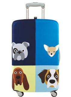 Baggage Covers Funny Dog Paws Bone Ball Black Washable Protective Case