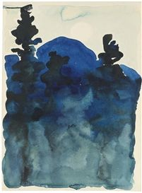 Georgia O'Keeffe, BLUE HILLS NO. III, 1916, watercolor on paper, private collection. Provenance Robert Miller Gallery, New York Bill Dean, New York, 1986 Barbara Mathes Gallery, New York, 1986 Acquired by the present owner from the above, 1987