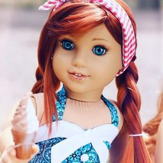 OOAK Grace mold with red hair wig with braids