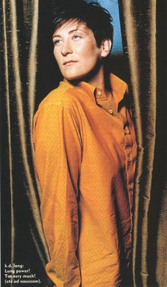 kd Lang ~ love the way she deals with bs ~ just swats it away with a wry smile ~