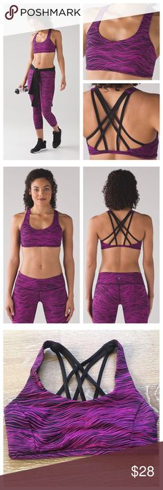Lululemon Free to be Tranquil Bra 6 Life Lines Life lines black/polar pink print. Gently preowned. Size 6.  A slim band and light support give this bra a featherlight feel. Luxtreme® Is sweat-wicking, four-way stretch, and engineered not to shrink lululemon athletica Intimates & Sleepwear Bras