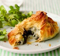 Mushroom & Blue Cheese Filo Parcels served with green salad