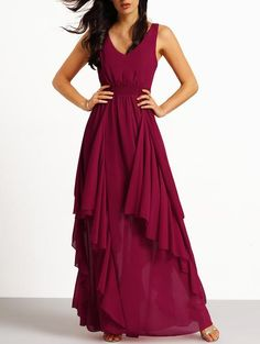 Burgundy Deep V Neck Maxi Chiffon Dress - Crystalline