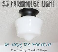 farmhouse light, schoolhouse light, light fixture, DIY, home decor, budget friendly, budget lighting, cheap lighting, light makeover, light ...