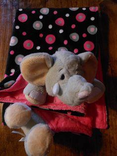Minkee Baby Animal Elephant Blanket and Matching Carseat Canopy Set on Etsy, $90.00