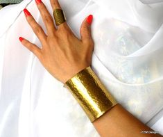 I LOVE!!! Extra wide hammered armband wide gold cuff unisex by pzmdesigns, $45.00