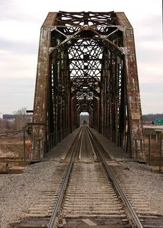 Railroad Bridge over the Red River going from Oklahoma to Denison, Texas.. Just 8 miles East of Denison, TX