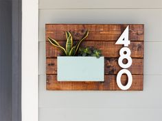 create an address number wall planter
