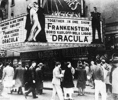 Vintage photo,Dracula & Frankenstein double feature, classic horror flims