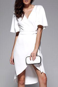 $26.89 Crossover Tie Belt Asymmetrical Dress