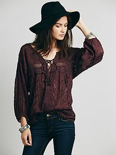 Free People Eyelet Lace Up Peasant Top
