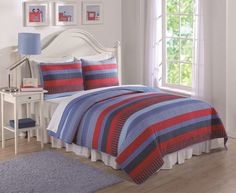 Opentip.com: PEM America QS7081BRFQ-41 Blue and Red Sebas Stripe Full / Queen Quilt and Shams