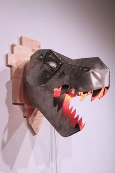DIY T-rex trophy heat lamp made from folded sheet metal - but you could use the template to make a smaller version from cardstock!