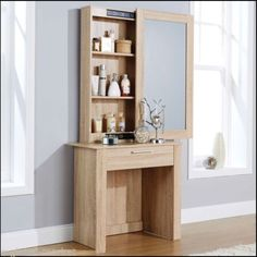 Dressing-Table-Sliding-Mirror-Vanity-3-Shelves-Drawer-Storage-Space-Oak-Finish