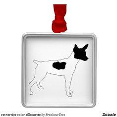 rat terrier color silhouette metal ornament