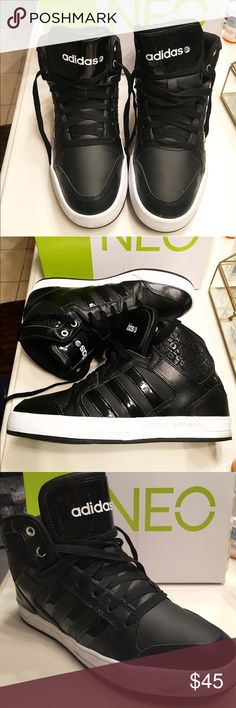 Adidas Neo Raleigh Mid Sneakers Soft leather upper, comfortable textile lining, cushioning insole, mid cut, rubber outsole, only worn a few times Adidas Shoes Sneakers