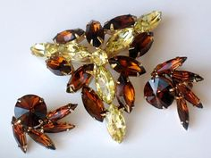 Brown Amber Topaz and Golden Yellow Brooch and Earrings Possible Juliana by JewelryQuestDesign, $45.99