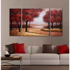 Hand-painted 'Red Autumn Forest' 3-piece Gallery-wrapped Canvas Art Set