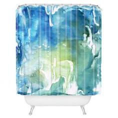 DENY Designs shower curtain with an abstract motif.    Product: Shower curtainConstruction Material: 100% PolyesterColor: Blue and greenFeatures:  Full color front and solid white backSix color dye process and custom printed for every orderButton hole openings Designed by Rosie Brown for DENY DesignsDimensions: 69 H x 72 WNote: Shower rings not includedCleaning and Care: Machine wash cold and tumble dry