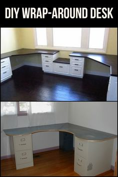 A wrap-around desk is a good way to maximize space inside a room. Learn how to build your own today!