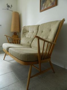 Vtg Ercol Evergreen two Seater Sofa Blonde Mid Century Modern DELIVERY AVAILABLE