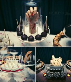 Spooky Dessert Table Ideas-love decorating for Halloween! Halloween Desserts, Buffet Halloween, Halloween Dinner, Halloween Food For Party, Halloween Birthday, Holidays Halloween, Spooky Halloween, Halloween Treats, Day Of Dead