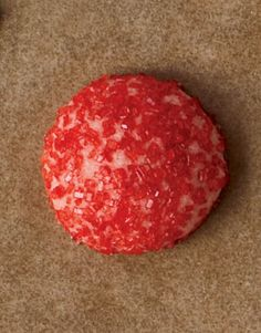 Red Dome Cookie-- Shape 1 1/2 tablespoonfuls of dough into balls. For pink, tint dough with red food coloring. Roll balls to coat in decorations. Choose one or a mix of sugars, nonpareils, dragees, or seeds such as anise, poppy, or sesame. Chill for 20 minutes and bake for 20 minutes. Recipe: Sugar Cookie Dough