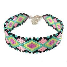 Bracelet miyuki géométrique vert et rose