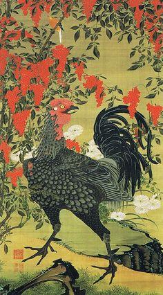 """伊藤若冲(Ito Jakuchu)「南天雄鶏図~動植綵絵(Nandina and Rooster, from """"Animals and Plants in Colors"""")」(c.1761-65)"""