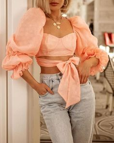 Pink Front Tie Puf Sleeve Crop Top Women's Online Shopping Offering Huge Discounts on Dresses, Lingerie , Jumpsuits , Swimwear, Tops and More. Mode Outfits, Stylish Outfits, Fashion Outfits, Womens Fashion, Latest Fashion, Mode Geek, Crop Tops, Mode Inspiration, Pattern Fashion
