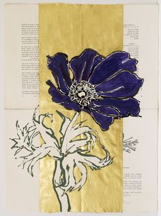 Robert Kushner, Purple Anemone, 2014, oil, ink, acrylic and gold leaf on joined book pages, 30 x 22 inches.jpg