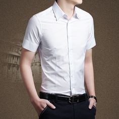 Mens dress shirts flat white solid formal shirt for men short ...