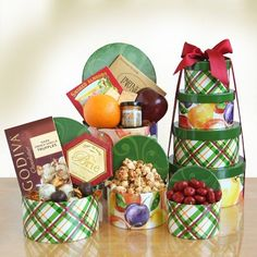 Holiday Harvest Sweet & Savory Gift Tower - http://www.specialdaysgift.com/holiday-harvest-sweet-savory-gift-tower/