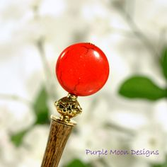 """""""Red sun Rising"""" - Red Gold Beaded Hair Stick, 4 1/2"""" Hand Carved Hairstick"""