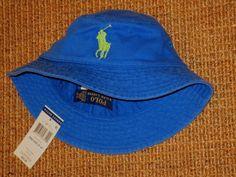 POLO RALPH LAUREN BUCKET HAT BIG PONY CHILD 2 - 4 YEARS BLUE COTTON NEW   PoloRalphLauren  Bucket 6224c4edbe2