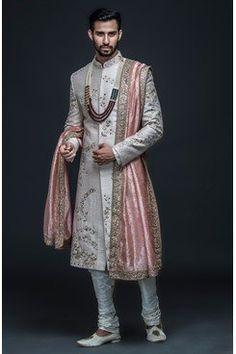 Sherwani With Hand Embroidery - Prom Dresses Design Engagement Dress For Groom, Couple Wedding Dress, Wedding Outfits For Groom, Groom Wedding Dress, Bridal Outfits, Wedding Suits, Sikh Wedding, Gothic Wedding, Punjabi Wedding