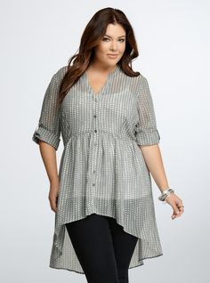 Heart Print Chiffon Tunic Top From the Plus Size Fashion Community at www.VintageandCurvy.com