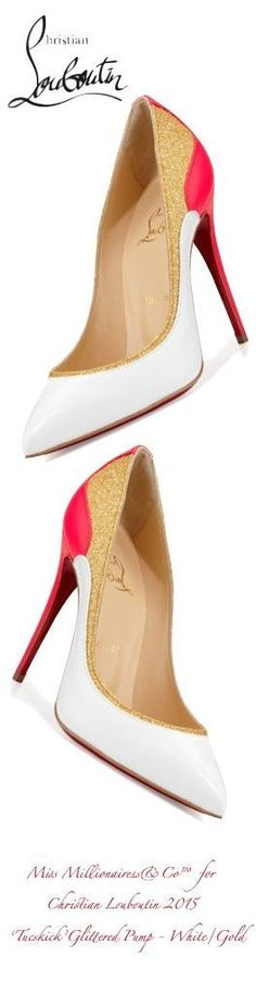 "Christian Louboutin 2015 ""Tucskick' Glittered Red Sole Pump In White/Gold 