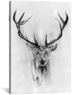 Red Deer Art Print by Alexis Marcou Future Tattoos, Tattoos For Guys, Cool Tattoos, Tatoos, Hirsch Tattoos, Cervo Tattoo, Kopf Tattoo, Bild Tattoos, Deer Art