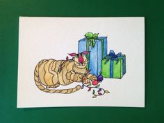 Christmas Card, Cats, Kitty Bargain#3, Original, Not a Reproduction  | SunberryCreations - Cards on ArtFire