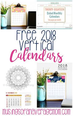 Free printable 2018 monthly calendars - vertical great for binders!