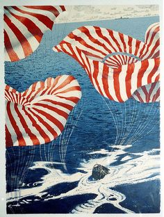 Splashdown  (lithograph) 1977 by Robert T McCall  from NASA's Eyewitness to Space program