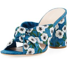 Loeffler Randall Coco Denim Embroidered Mule Sandal ($450) ❤ liked on Polyvore featuring shoes, sandals, mule sandals, open toe mules, loeffler randall shoes, block heel sandals and open toe sandals