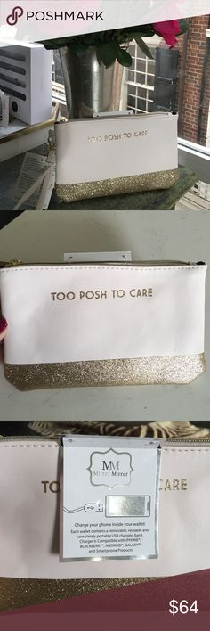 "✨""Too Posh To Care"" Sparkly Pink & Gold Wristlet✨ Super cute and unique baby pink wristlet with gold glitter detail! ""Too Posh to Care"" reads on the front! Super unique because you can charge your phone while on the go! The wallet contains a completely removable, reusable, and portable USB charging bank. It's compatible with iPhone, Blackberry, Android, and Galaxy products. Such a fun little wristlet and a great gift idea for the holidays! ❤️ Francesca's Collections Bags Clutches & Wristlets"